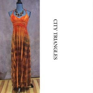 City Triangles Orange Brown Halter Maxi Dress Sz S
